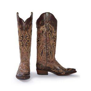 NIB Stetson Women's Brown Cowboy Boots 9.5